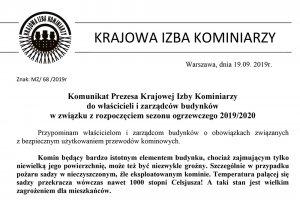 Komunikat Prezesa Krajowej Izby Kominiarzy do wła